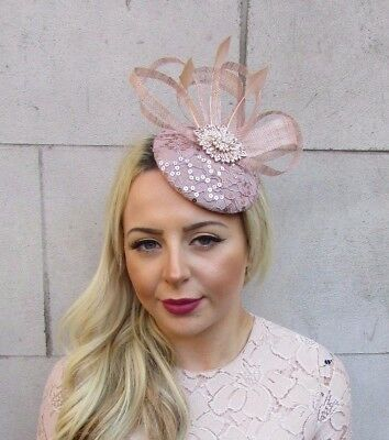 Nude Sequin Feather Pillbox Hat Fascinator Formal Races Ascot Hair Clip 4454 • 31.95£