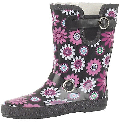 Ladies Flower Print Wide Calf Short Willington Boots Funky Festival Wellies  • 20.95£