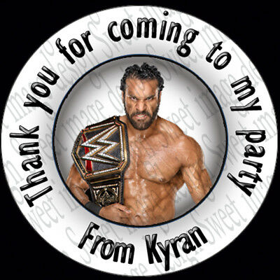 Large WWE Personalised Stickers 51mm Round Party Bags Birthday Gifts Sweet Cones • 1.28£