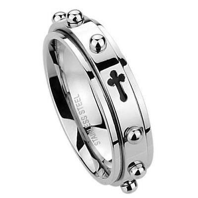 $18.90 • Buy 6MM Rosary Ring  Cross Stainless Steel Spinner Praying Ring Gift Fathers Day