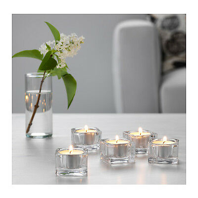 £3.49 • Buy New Tea Light Holders Ikea Glasig 5/pack Glass Square + 5 Free Tealight Candles