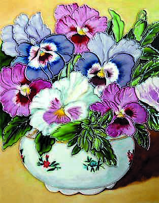 £26.99 • Buy  11x14 Inch PANSY BOWL Ceramic Wall Art Plaque / Art Ceramic Tile Picture