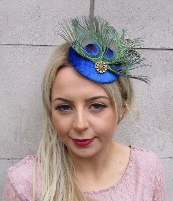Electric Cobalt Blue Gold Peacock Feather Pillbox Hat Fascinator Hair Clip 4521 • 13.95£