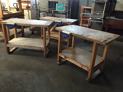 £80 • Buy Small Wooden Workbench With Vice And Shelf Beneath (3984)