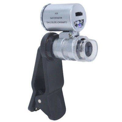 £5.14 • Buy New Pocket Clamp 60X Microscope Loupe Magnifier W/ UV LED Light For Mobile Phone