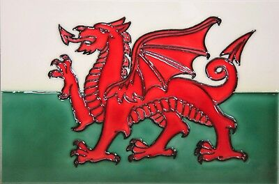 £21.99 • Buy 8x12 Inch FLAG OF WALES Ceramic Wall Art Plaque / Art Ceramic Tile Picture