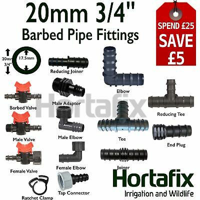 Barbed Pipe Fitting  - 20mm Ext Diam (17mm Int)  Size, Pond Irrigation Watering. • 2.95£
