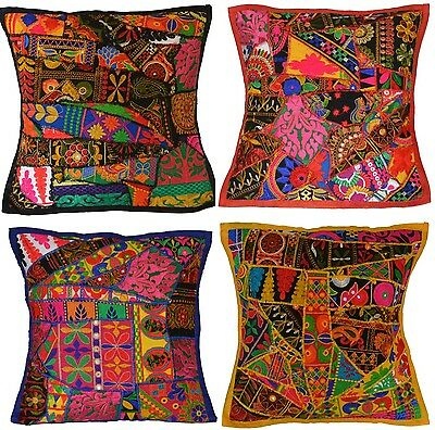 Recycled Sari Embroidered Cushion Cover 16  40cm Fabric Indian Boho Ethnic Patch • 5.99£