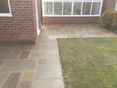 Raj Green Indian Sandstone Paving Patio Slabs. 18-25mm. PRICE INCLUDES VAT • 1.99£