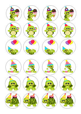 £2 • Buy 24 Turtles Birthday  Cupcake  Wafer Rice Edible Fairy Cake Toppers
