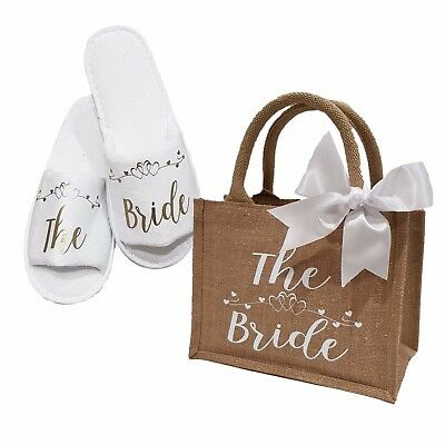 £14.99 • Buy Personalised Bride Bridal Wedding Slippers & Glimmer Jute Bag Gift  *ANY ROLE*