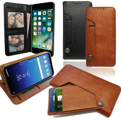 AU10.71 • Buy Leather Wallet Phone Case With Pull Out Card Holder, Money Slot & Photo Frame
