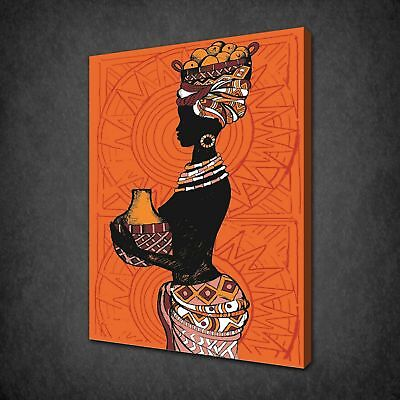 AFRICAN LADY MOULTI COLOUR THEME CANVAS PRINT PICTURE WALL ART FREE UK DELIVERY