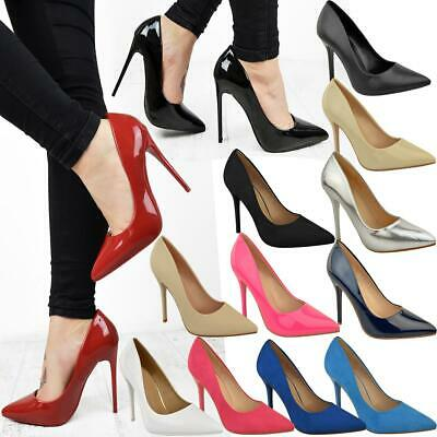 Womens Ladies Black High Heel Court Shoes Smart Formal Occasion Party Size New • 16.99£