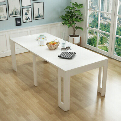 AU599 • Buy 1.8 M High Gloss White Console Table Extendable To Dining Table/Meeting Table