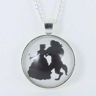 £3.99 • Buy BEAUTY AND THE BEAST SILHOUETTE NECKLACE Disney Princess Belle Wedding Rose
