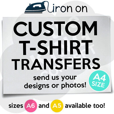 £2.49 • Buy Custom Iron On T-Shirt Transfer A4 Your Image Photo Design Personalised Hen Stag