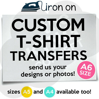 £1.39 • Buy Custom Iron On T-Shirt Transfer A6 Your Image Photo Design Hen Stag Personalised