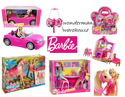 Barbie Dolls House/Car/Horse/Camping Fun/Playsets, Toys & Accessories - New • 164.99£