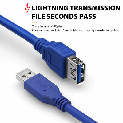 AU13.29 • Buy Premium 1m 2m 3m 10m USB 3.0 A Male To Female Extension Cable Cord UL Listed