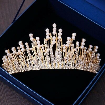 £29.31 • Buy Stunning Gold Crown/tiara With Clear Crystals & White Pearls, Bridal Or Racing