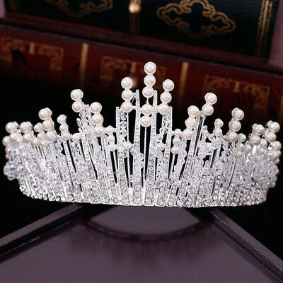 £29.31 • Buy Stunning Silver Crown/tiara With Clear Crystals & White Pearls, Bridal Or Racing