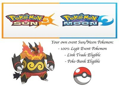 AU2.38 • Buy Pokemon Ultra Sun And Moon Event Emboar With Hidden Ability + Gold Bottle Cap