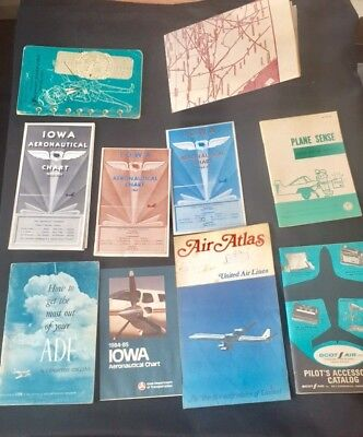 LOT Aviation Maps Air Atlas Iowa Charts United Air Lines Jeppesen Manual • 44.99$