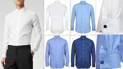 Mens Shirt Invictus Slim Athletic Body Fit Easycare Cotton Double French Cuff • 15.99£