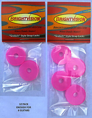 $ CDN16.43 • Buy Twelve TRANSLUCENT PINK Silicone Rubber Guitar Strap Locks-Classic And Reliable