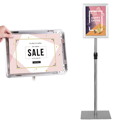 A4 Display Adjustable Poster Stand Advertisement Sign Holder Floor-Standing Snap • 32.99£