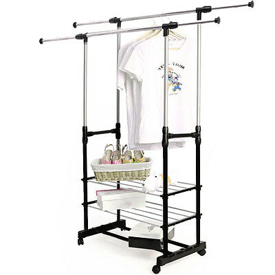 UK Double Clothes Rail Garment Coat Hanging Display Stand Shoes Rack With Wheels • 13.69£