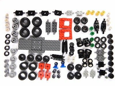 LEGO WHEELS 125 Pieces Set Pack City Like 6118 Small Large Tyre Axle + Base  • 12.07£