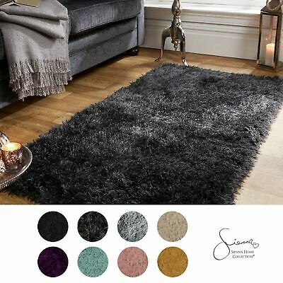 Sienna Large Shaggy Floor Rug Plain Soft Sparkle Area Mat 5cm Thick Pile Glitter • 16.99£
