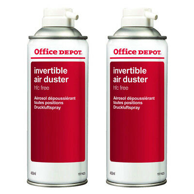 2 X Office Depot Compressed Air Duster Can Laptop Keyboard Cleaner Spray 400ml • 12.98£