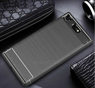 AU8.74 • Buy For Sony Xperia XZ1 Carbon Fibre Gel Case Cover & Glass Screen Protector