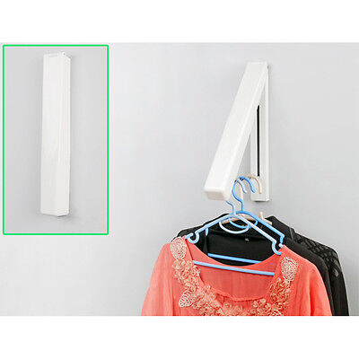 £7.19 • Buy 2 X Stainless Folding Wall Hanger Laundry Rack Mount Retractable Clothes New