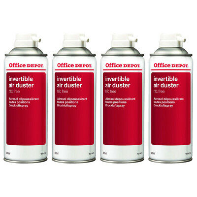 4 X Office Depot Compressed Air Duster Can Laptop Keyboard Cleaner Spray 400ml • 19.98£