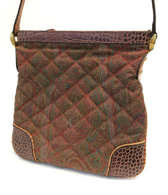 $125 • Buy Etro Paisley Quilted Lizard Embossed Leather Shoulder Bag