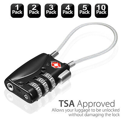 AU15.19 • Buy TSA-Approved Combination Luggage Lock With Steel Cable,Luggage Locks For Travel