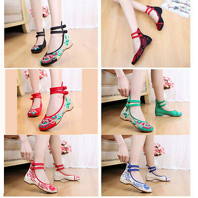 £13.29 • Buy Women Chinese Old Peking Wedges Embroidered Flower Shoes Casual Dance Flat Shoes