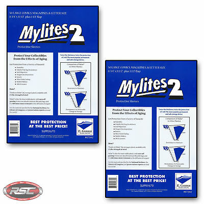 $44.95 • Buy 100 - E. Gerber Mylites 2 Large Comics, Magazines, Letters Mylar Sleeves 875M2