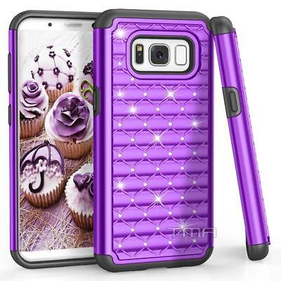 $ CDN6.79 • Buy Fits Samsung Galaxy S8 Case Rhinestone Bling Glitter Impact Armor Cover - Purple