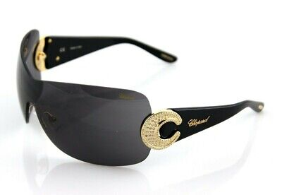 £271 • Buy RARE Genuine CHOPARD Sunglasses Gold Plated Crystals Black Shield SCH 939 S 300X