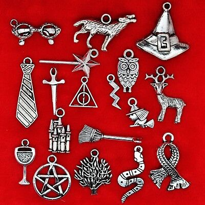 Tibetan Silver Harry Potter Theme Mixed Charms Pendants Beads Deathly Hallows  • 1.99£