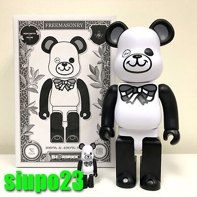 $299.99 • Buy Medicom 400% + 100% Bearbrick ~ Freemasonry X Fragment Be@rbrick White Version