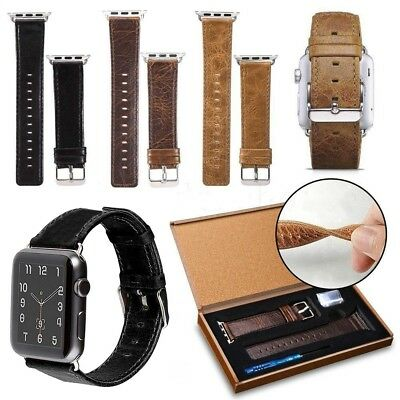 AU16.96 • Buy Genuine Leather Wristband Band 44/42/40/38mm For Apple Watch Iwatch Series 12345