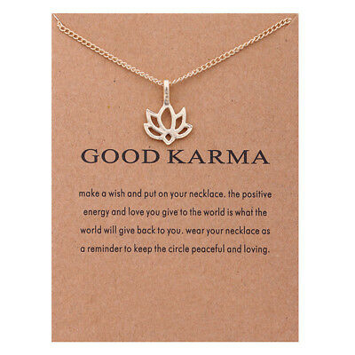 Necklace Good Karma Lotus Pendant Chain Rose Gold Gift Wish Card • 4.99£