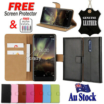 AU12.99 • Buy Genuine Leather Wallet Flip PU Case Cover For Nokia 2.1 6.1 6 2018 7 Plus Case
