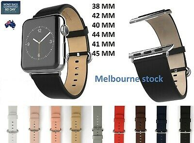 AU21.58 • Buy Solid Leather Strap Band Bracelet Watchband For Apple Watch Series 5/4/3/2/1
